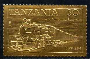 Tanzania 1985 Railways 30s (Loco 3129) embossed in 22k gold unmounted mint as SG 433