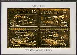 Tanzania 1985 Railways perf m/sheet embossed in 22k gold unmounted mint as SG MS 434
