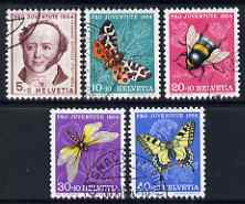 Switzerland 1954 Pro Juventute Insects set of 5 fine cds used SG J152-56