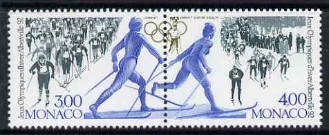 Monaco 1991 Albertville Olympic Games se-tenant perf set of 2 unmounted mint SG 2042-3