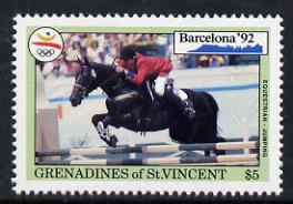 St Vincent - Grenadines 1992 Showjumping $5 (from barcelona Olympics set) unmounted mint, SG 877