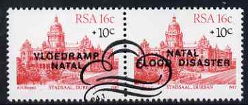 South Africa 1987 Natal Flood Relief Fund #1 (City Hall 16c + 10c) opt se-tenant pair fine used, SG 624a