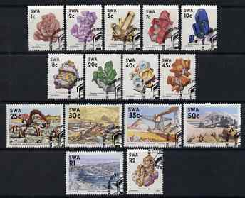 South West Africa 1989 Minerals def set of 15 values complete fine used with special cancels, SG 519-33