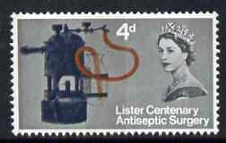 Great Britain 1965 Joseph Lister's Discovery of Antiseptic Surgery 4d (phos) with naroow band at left and broad band at right, unmounted mint SG 667pb