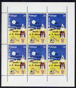 Nagaland 1969 6th Death Anniversary of J F Kennedy opt on 2c Moon Programme complete perf sheetlet of 6 unmounted mint