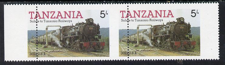 Tanzania 1985 Locomotive 3022 5s value (SG 430) unmounted mint horiz pair with vert perfs shifted 8mm