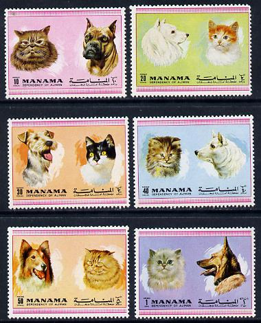 Manama 1972 Cats & Dogs perf set of 6 unmounted mint (Mi 869-74A)