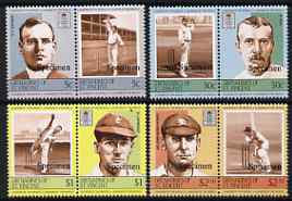 St Vincent - Grenadines 1984 Cricketers #2 (Leaders of the World) set of 8 overprinted Specimen, unmounted mint as SG 331-38