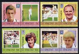 St Vincent 1985 Cricketers (Leaders of the World) set of 8 overprinted Specimen, unmounted mint as SG 842-49