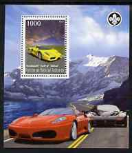 Palestine (PNA) 2007 Ferrari Cars perf m/sheet with Scout Logo, unmounted mint. Note this item is privately produced and is offered purely on its thematic appeal