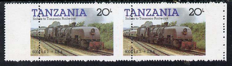 Tanzania 1985 Locomotive 6004 20s value (SG 432) unmounted mint horiz pair with vert perfs shifted 8mm