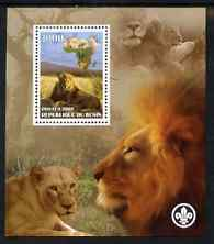 Benin 2007 Lions perf m/sheet with Scout Logo, unmounted mint