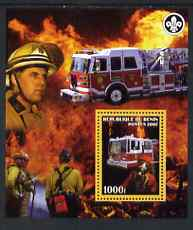 Benin 2007 Fire Fighters #2 perf m/sheet with Scout Logo, unmounted mint