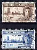 Nigeria 1946 KG6 Victory set of 2 fine cds used, SG 60-61