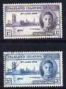 Falkland Islands 1946 KG6 Victory set of 2 fine cds used, SG 164-5