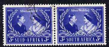 South Africa 1948 KG6 Royal Silver Wedding bi-lingual horizontal pair fine used, SG 125