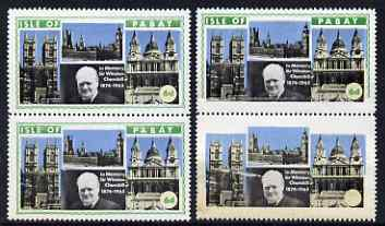 Pabay 1968 Churchill 6d perf vert pair with green partially omitted on upper stamp and completely omiited on lower stamp (including face value) due to a paper fold plus normal pair. Unmounted mint but some ageing
