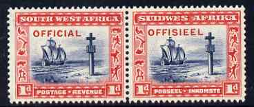 South West Africa 1945-50 Official - Cape Cross 1d indigo & scarlet horiz pair unmounted mint SG O19, stamps on ships, stamps on