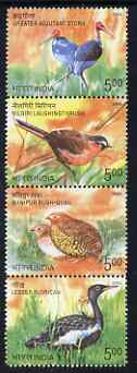 India 2006 Endangered Birds perf se-tenant strip of 4 unmounted mint