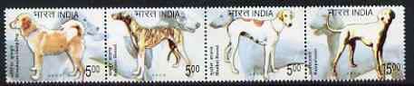 India 2005 Dogs perf se-tenant strip of 4 unmounted mint, SG 2252-55