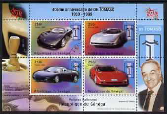Senegal 1998 40th Anniversary of Tomaso Cars perf m/sheet containing 4 values  fine cto used, SG MS1560