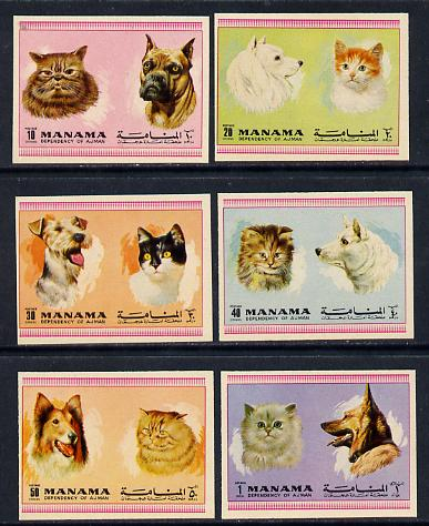 Manama 1972 Cats & Dogs imperf set of 6 unmounted mint (Mi 869-74B)