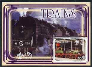 Timor 2001 Trains #1 perf m/sheet fine cto used