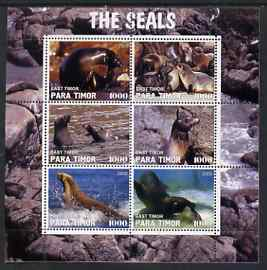 Timor (East) 2000 The Seals #2 perf sheetlet containing 6 values fine cto used