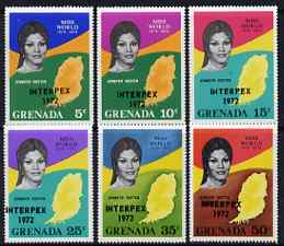 Grenada 1972 Interpex opt on Miss World set of 6 unmounted mint, SG 490-95
