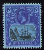 St Helena 1922-37 KG5 Badge 15s,  'Maryland' perf forgery 'unused' as SG 113 - the word Forgery is either handstamped or printed on the back and comes on a presentation card with descriptive notes