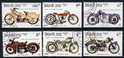 Laos 1985 Centenary of Motor Cycle set of 6 values only fine cto used, SG 807-13