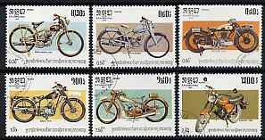Kampuchea 1985 Centenary of Motor Cycle perf set of 6 values only fine cto used, SG 598-603