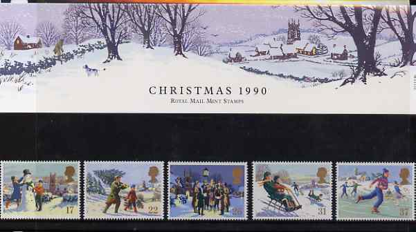Great Britain 1990 Christmas set of 5 in official presentation pack, SG 1507-10