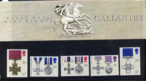 Great Britain 1990 Gallantry Awards set of 5 in official presentation pack, SG 1517-21