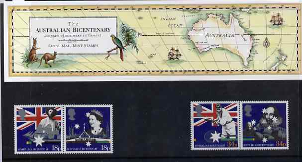 Great Britain 1988 Bicentenary of Australian Settlement set of 4 (2 se-tenant pairs) in official presentation pack, SG 1396-99