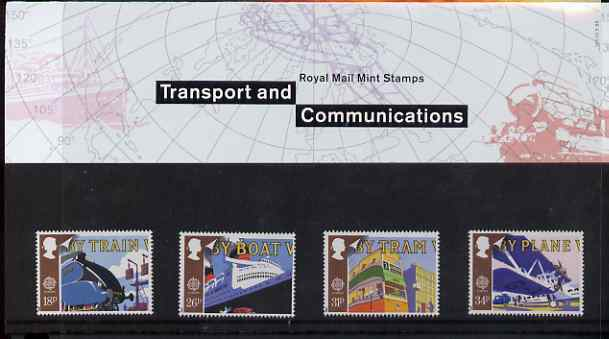 Great Britain 1988 Europa - Transport & Mail Services set of 4 in official presentation pack, SG 1392-95