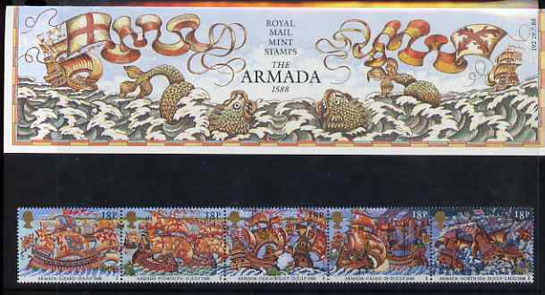 Great Britain 1988 Spanish Armada 400th Anniversary strip of 5 in official presentation pack SG 1400a