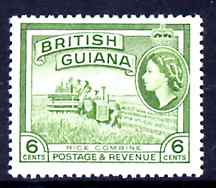 British Guiana 1954-63 Rice Combine Harvester 6c De La Rue printing unmounted mint SG336a*, stamps on rice, stamps on farming, stamps on food