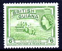 British Guiana 1954-63 Rice Combine Harvester 6c Waterlow printing unmounted mint SG336*, stamps on rice, stamps on farming, stamps on food