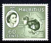 Mauritius 1963-65 Dodo & Map 60c Block CA wmk unmounted mint SG 315