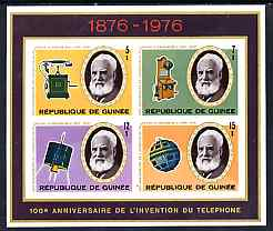 Guinea - Conakry 1976 Telephone Centenary imperf sheetlet containing set of 4 values, unmounted mint, as SG MS911