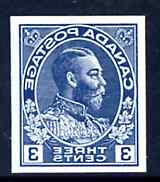 Canada 1911-22 KG5 3c Admiral design slightly enlarged and reversed in blue on thin card, imperf Printing trial essay for the Victory-Kidder machine (ex ABNCo archives)