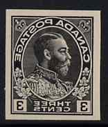 Canada 1911-22 KG5 3c Admiral design slightly enlarged and reversed in black on thin card, imperf Printing trial essay for the Victory-Kidder machine (ex ABNCo archives)