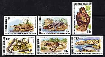 Togo 1977 Endangered Wildlife imperf set of 6 from limited printing unmounted mint, as SG 1216-21