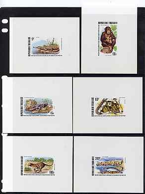 Togo 1977 Endangered Wildlife set of 6 individual deluxe die proofs in issued colours as SG 1216-21