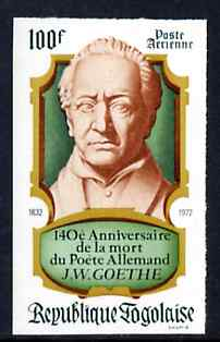 Togo 1972 140th Death Anniversary of Goethe (poet) imperf from limited printing unmounted mint as SG 914