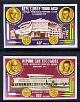Togo 1972 Visit by Pres Pompidou imperf set of 2 from limited printing unmounted mint as SG 912-3