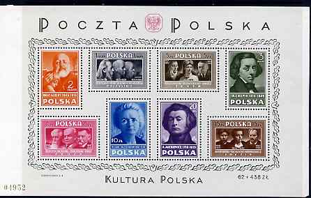 Poland 1947 Polish Culture perf m/sheet lightly mounted mint, SG MS594a
