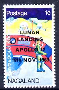 Nagaland 1968 Apollo 12 Lunar Landing 1c dated 19th Nov 1969, unmounted mint