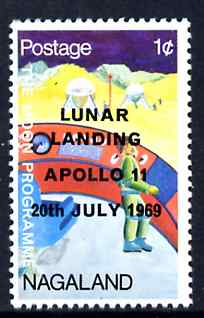Nagaland 1968 Apollo 11 Lunar Landing 1c dated 20th July 1969 in error (should be 19th Nov), unmounted mint